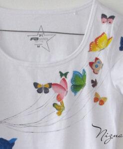 tricou fluturi detaliu